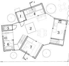 Wohncontainer von Kentaro Yamazaki, Grundriss EG