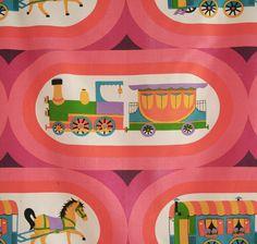 vintage 1960s cotton mix trains and caravans interiors fabric length