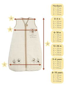 Size Chart for  baby and children sleeping bags