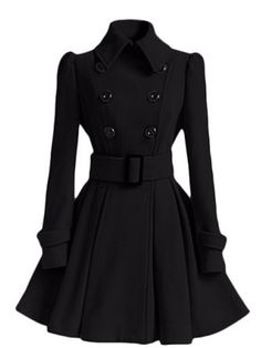Women Winter Warm Flare Double Breasted Wool Wlend Trench Peacoat Overcoat  Black XXS Best Winter Coats for Women USA b16bc98ca