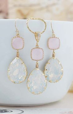 White Opal Swarovski Crystal Earrings and Necklace Jewelry Set from EarringsNation Pink and White Weddings Pastel Weddings