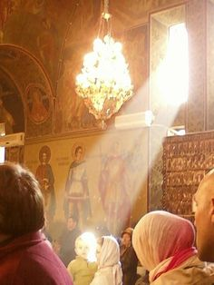 The lights in an Orthodox church service.