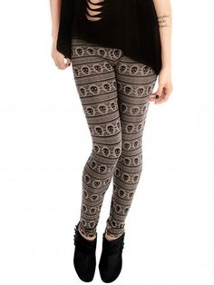 """Women's """"Navajo Skull"""" Leggings by Folter Clothing (Charcoal)"""