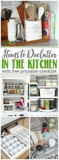 20+ items to declutter in in the kitchen. Free printable checklist and decluttering tips. / #declutteringtips #declutter #homeorganization #kitchenorganization #getorganized Clutter Organization, Kitchen Cabinet Organization, Organization Ideas, Household Organization, Clean Kitchen Cabinets, Kitchen Pantry, Kitchen Hacks, Kitchen Gadgets, Kitchen Ideas