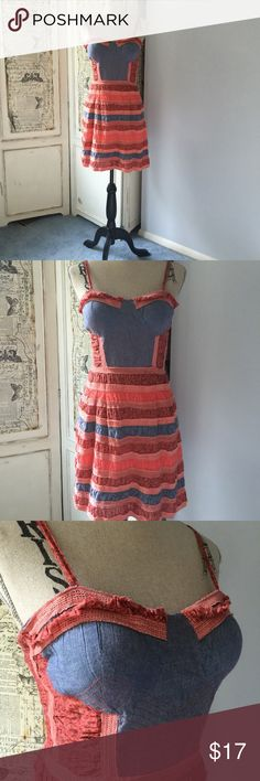 "American Rag dress Sz M American Rag dress Sz M. Adjustable straps, padded cups, has elastic back for added stretch and comfort. Measures 35"" in length. Bust approx 32"", waist approx.28"", hips approx 33"" 100% cotton  #lisamariesvibe #americanrag #summer #summerdress #vacation #daydate #funandflirty American Rag Dresses"