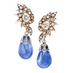A pair of antique Burmese sapphire and diamond earrings by Chaumet, circa 1880