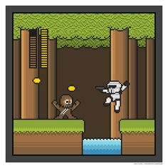 "ronworkman: "" Mega Boss Battles: Star Wars Created by Ty Lettau Prints available at "" Legit mashup. Star Wars Prints, Star Wars Art, Saga, Geek Games, Love Stars, Geek Art, Mega Man, 8 Bit, Pixel Art"