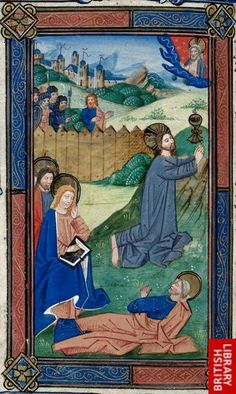 Detail of a miniature of Christ in the Garden of Gethsemane with foliate borders, at the beginning of the Hours of the Virgin.   Origin:Netherlands, S.