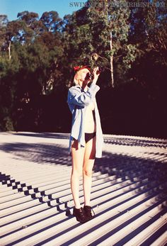 running around the state on http://swimwiththecurrent.com    Factorie denim shirt  Bonds underwear  Ryan's wine hat    Photography: Ryan Kenny  Model: Chloe Sargeant