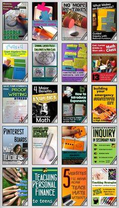 Tons of awesome math teacher ideas and articles! (for Middle / High School Math Teachers Grades 6-12)