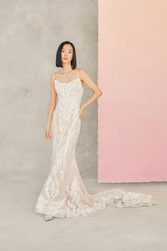 Marisa by Allure Bridals details a modern neckline and beaded lace overtop sparkle tulle. Dream Wedding Dresses, Designer Wedding Dresses, Allure Bridal Lace, Southwestern Wedding, Bohemian Gown, Modern Minimalist Wedding, Girls Dresses, Flower Girl Dresses, Vintage Wedding Theme