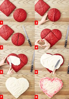 Make your loved ones a sweet heart-shaped cake this Valentines Day—its easier than it looks, promise! Heart Shaped Cakes, Un Cake, Valentines Day Desserts, Valentine Decorations, Savoury Cake, Holiday Treats, No Bake Cake, How To Make Cake, Cake Recipes