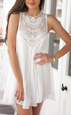 White sleeveless w/ lace dress from SheIn - love, love, love