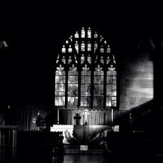Faith by Angela Seager. #blackandwhite #cathedral #cross #sunlight #faith #worship #architecture #light #peace #altar #window #traditional #religion #silhouette #symbol #europe #photography #angelaseager