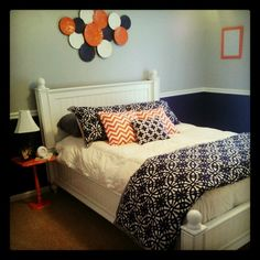Gray And Navy Decorating | Navy Blue, Coral, And Gray Bedroom Decor