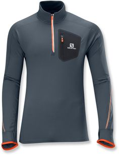 Lightweight and breathable, it cuts the chill and keeps you comfortable—Men's Salomon Trail Runner Warm Zip Top. #REIGifts