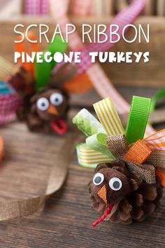 Scrap Ribbon Pinecone Turkeys