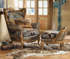 Indian Blanket Wing Chair & Ottoman_$4690.00_  Item # 8999-P_  Crow's Nest Exclusive._  Graphics on a grand scale contrast boldly with crocodile-embossed leather arms and trim. Generously sized for your great room. Southwest tones, sturdy hardwood frames. Allow 6 weeks. Made in the USA.  Pillow pictured is No. 9260    Fabric content: 59% Rayon Chenille/ 22% Rayon/ 19% Polyester.