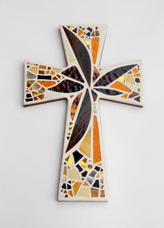 """Mosaic Wall Cross, Abstract Floral, """"Sunset"""", Brown + Gold, Handmade Stained Glass Mosaic 15"""" x 10"""" by GreenBananaMosaicCo"""