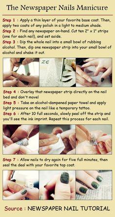 Awesome! How to do a newspaper manicure!