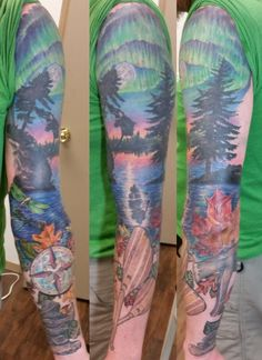 session08 paddles wood grain canoe tree silhoute skyline dusk lake treeline northern lights aurora borealis water reflection leaf leaves lake cairn water dragonfly tattoo sleeve independentink fargo justinzaun