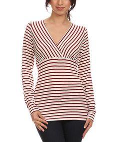 Look at this #zulilyfind! White & Red Stripe Surplice Top - Plus #zulilyfinds