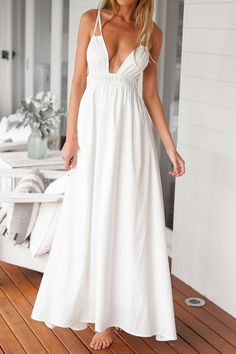 7f8bb162926fe Sexy Style Plubging Neck White Backless Tie-Up Sleeveless Maxi Dress For  Women - White