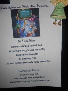 Alice in Wonderland menu