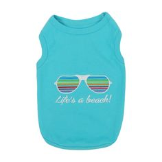 Pet Apparel | Life's A Beach Pet Apparel  $12.99 Embroidered Saying and Sunglasses Detail   Comfortable 100% Cotton Soft, high-quality substantial knit fabric Machine-washable for easy care Blue