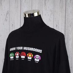 Nintendo 3XL Super Mario Bros Know Your Mushrooms Grapic TShirt Tee Stoner VTG #Delta #GraphicTee