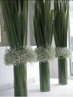 New Zealand Flax (Phormium) & Gypsophilia vase arrangements / Baby's Breath Unique Centerpieces, Flower Centerpieces, Table Centerpieces, Flower Decorations, Wedding Centerpieces, Wedding Decorations, Table Decorations, Flowers Vase, Centrepieces