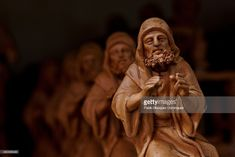 Christmas nativity figurines stand on shelves at Jose Luis Mayo's workshop on December 16, 2014 in Madrid, Spain. Jose Luis Mayo is a recognized artisan and the only in Madrid that produces hand made original clay figurines for Christmas Nativity Scenes. Jose Luis learned to work with clay on his own and keeps studying the culture and society of that epoch. At his workshop he has a team that reproduces handmade copies of his works on clay or ceramic.