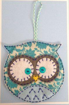 Felt Owl Ornament Pocket Christmas Stocking Gift Bag Floral Teal Print:
