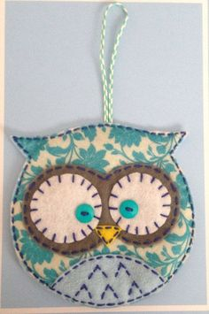 Felt Owl Ornament Pocket Christmas Stocking Gift Bag Floral Teal Print: