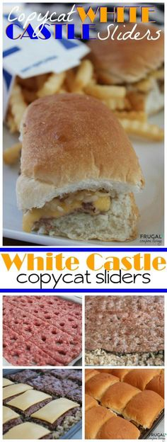 Amazing Copycat White Castle Sliders Recipe - easy to make from home! Minced onions, thin burgers, slices of cheese and toasty warm buns on Frugal Coupon Living. Dinner idea for the whole family.