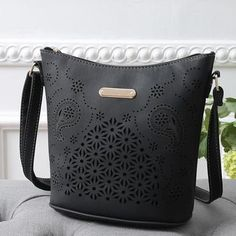 AUHWONE leather woman bag cross body Messenger Bag small high quality  Satchel Hollow Out Shoulder Bag 1f5a4c46bbddf