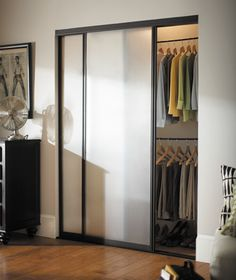 Contractors Wardrobe 72 in. x 96 in. Silhouette 5 Lite Bronze Aluminum Frame Mystique Glass Interior Sliding Door - - The Home Depot Wardrobe Closet, Closet Design, Glass Closet, Interior, Sliding Doors Interior, Mirror Interior, Sliding Doors, Glass Closet Doors, Home Decor