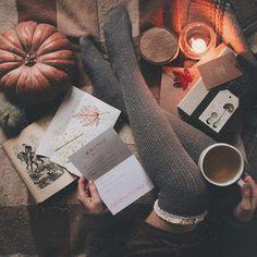 All of the cozy fall feels! Pumpkins, cinnamon candles, a warm cup of tea and cute knee high socks! Autumn Cozy, Fall Winter, Fall Days, Autumn Aesthetic, Orange Aesthetic, Hello Autumn, Autumn Inspiration, Autumn Ideas, Hygge