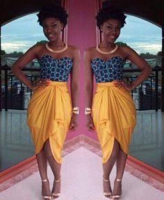 ***Try Hair Trigger Growth Elixir*** ========================= {Grow Lust Worthy Hair FASTER Naturally with Hair Trigger} ========================= Go To: www.HairTriggerr.com ========================= Sista Girl is WERKING this Printed Blue Sweet Heart Neckline Top and Golden Wrap Skirt with Her Cute Chunky TWA!!!