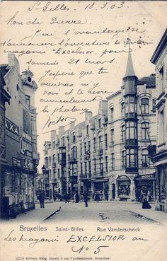 """Saint-Gilles, 18 mars 1903.Mon cher Pierre, j'ai l'avantage de t'annoncer l'ouverture de mon magasin """"Excelsior"""" pour samedi 21 mars. j'espère que tu viendras m'y voir et te serre la phalange, Victor.  La rue Vanderschrick sur le site de la région de Bruxelles-Capitale"""