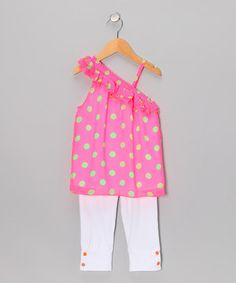Look what I found on #zulily! Neon Fuchsia Polka Dot Tunic & Leggings - Toddler & Girls by Girls Luv Pink #zulilyfinds