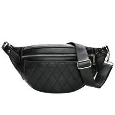 Leather Fanny Pack Waist Bag 2 Ways Stylish Qualited Belt Bag Cellphone Bag Chain Shoulder Bag Black-PU