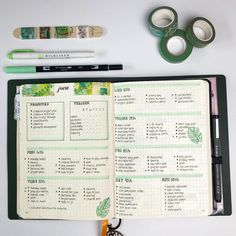 My bullet journal pages from this week I'm loving a little green at the moment I hope your weekend has been fab ... #bulletjournal…