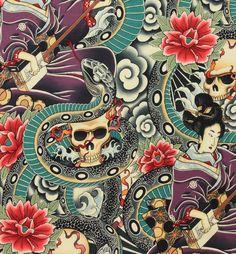 Zen Charmer Alexander Henry fabric, skulls tattoo goth snakes rockabilly geisha | eBay
