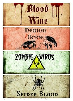 Free Printable Halloween Bottle Labels - Free Printables for all occasions