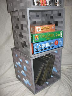 I built these a couple years ago. I realized what they were missing just the other day. So I whipped up some custom decals and voila! Boys Minecraft Bedroom, Minecraft Room Decor, Minecraft Decorations, Minecraft Projects, Minecraft Crafts, Lego Bedroom, Childs Bedroom, Minecraft Furniture, Bedroom Kids