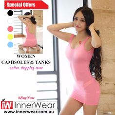 Ladies Camisoles & Tanks Harness Hanging Neck Ice Silk Vest Mini Sexy Style #buy  #sexytops #innerwear #silk #Camisolestanks #womenunderwear #ladiesinnerwear #sexytops