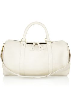 Clare V // White Large Duffle Textured Leather Bag