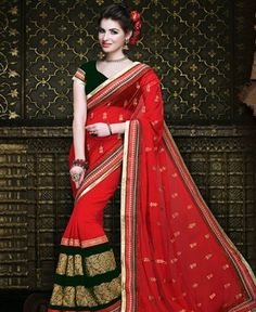 Picture of Fair Red Party Wear Sarees