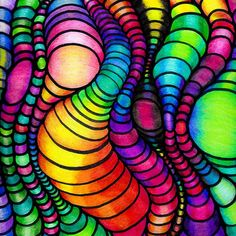 Colorful Tube Worms - Op Art by Nalinne Jones. CHALLENGE WINNER in Rainbow of Colors in Art Colorful wormy squirmy tubes, mezmirizing and vivid, optical art (op art), ink and colored pencil by Nalinne Jones. I found an amazing and easy tutorial on how to make the tubes on StumbleUpon, then colored it with colored pencil. Here is the link: http://juliannakunstler.com/art1_opt_des.html#.... Simple, yet repetitive technique. Fun and addicting to do!